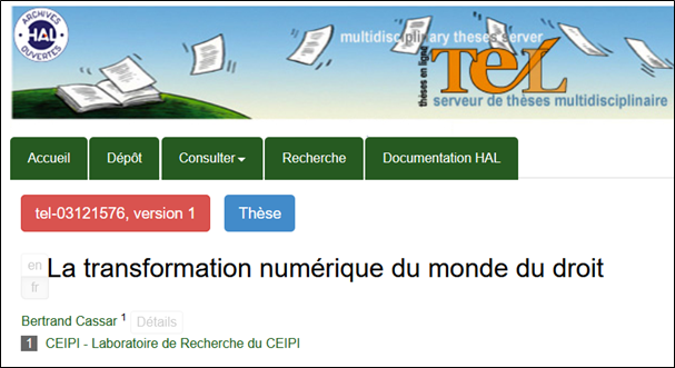 Thèse de Bertrand Cassar accessible avec TEL
